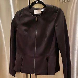 CARLISLE Ponte Knit Zip Up Peplum Jacket